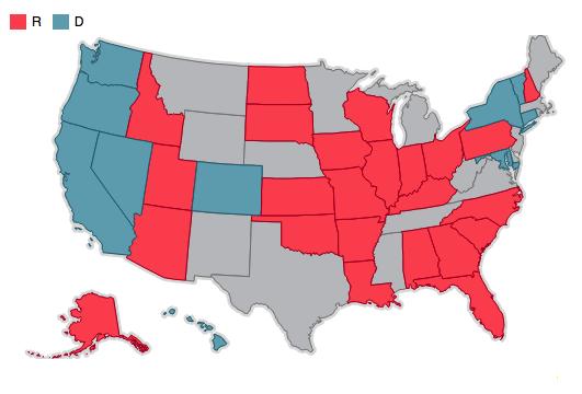 Mapa de los escaños del Senado en disputa en 2016, dividos por partido que lo controla actualmente.